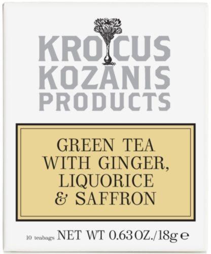 Krocus Kozani Herbal Tea with Green Tea with Ginger Liquorice & Saffron
